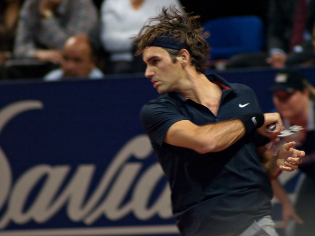 at the Davidoff Swiss Indoors in Basel, on 25. October 2007, playing against Juan Martin Del Potro